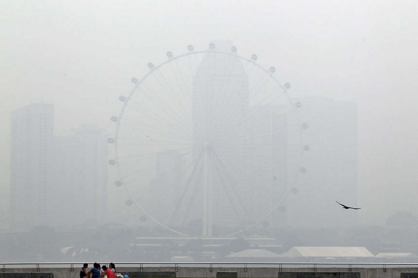 The Singapore Flyer shrouded by haze, as seen from Marina Barrage on June 17, 2013.