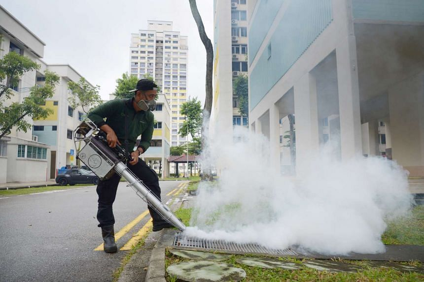 NEA officers pouring oil in drains while the Town Council has engaged contractors to fumigate the precint of Bishan St 12 on Sept 7, 2016.
