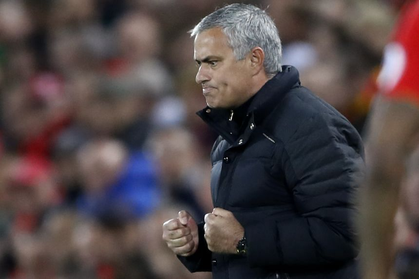 Jose Mourinho reacts during the English Premier League match between Liverpool and Manchester United.