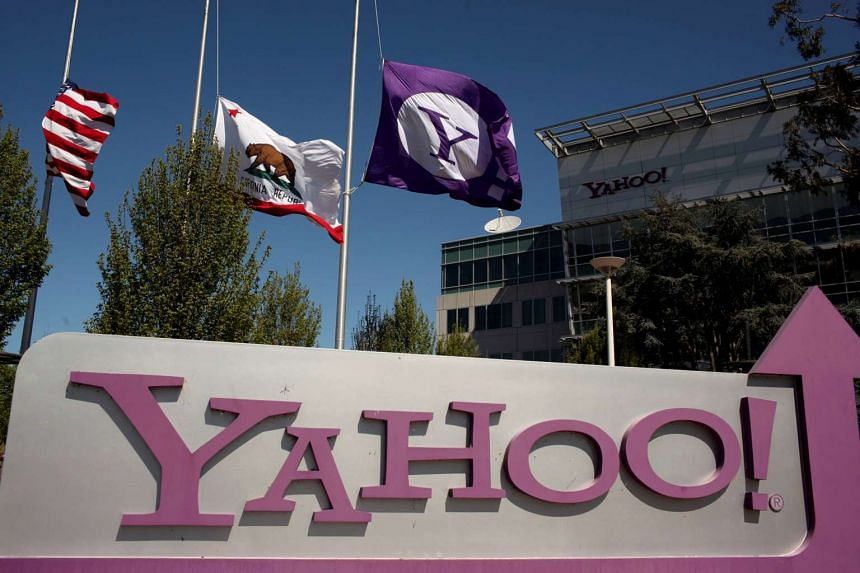The Yahoo logo is shown at the company's headquarters in Sunnyvale, California, US on April 16, 2013.