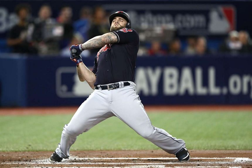 Mike Napoli #26 of the Cleveland Indians bats in the second inning against Aaron Sanchez #41 of the Toronto Blue Jays during game four of the American League Championship Series at Rogers Centre on Oct 18, 2016.