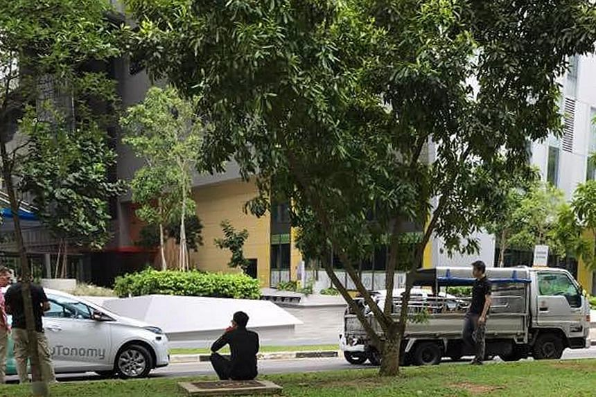The self-driving car was changing lanes in Biopolis Drive at one-north yesterday when it knocked into the lorry. The car belongs to nuTonomy, which is conducting trials of its autonomous vehicles in the one-north area. The start-up said the car was t