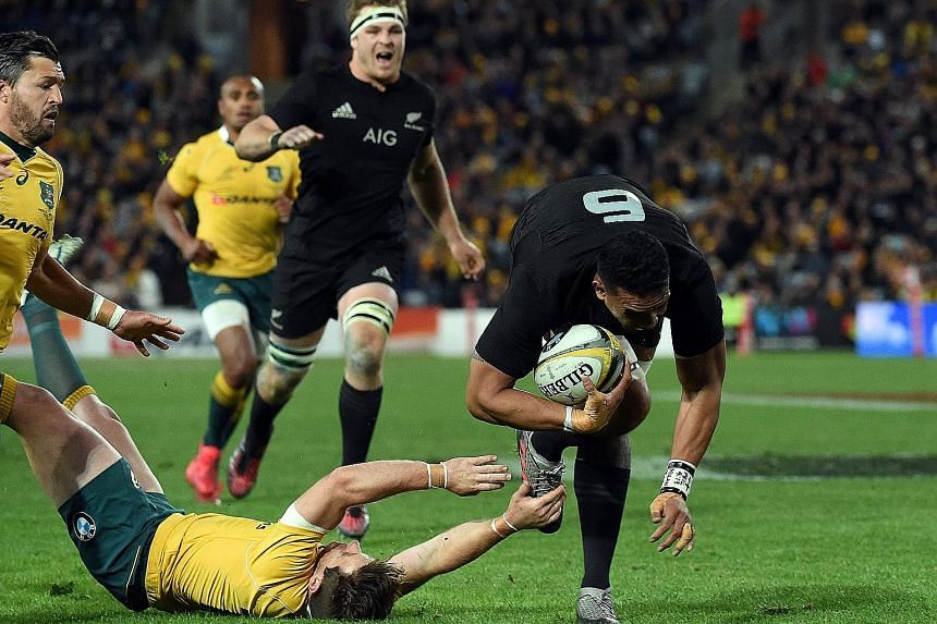 "Jerome Kaino diving to score a try as the All Blacks hammered Australia 42-8 in Sydney in August. The battling Wallabies were beaten again 29-9 in Wellington but are likely to be ""a different beast"" on Saturday."
