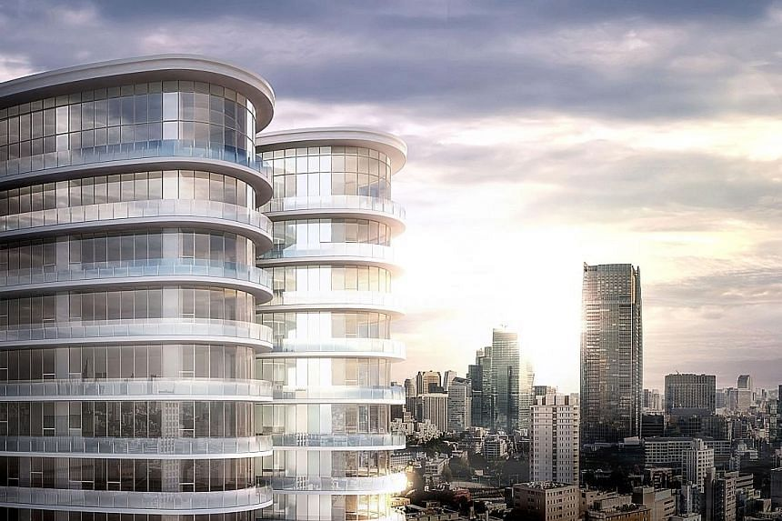 An artist's impression of Park Court Aoyama The Tower housing project (left and above) in Tokyo. Apartment sizes will range from 389 sq ft to 3,789 sq ft, and an initial 55 units will be launched for sale.