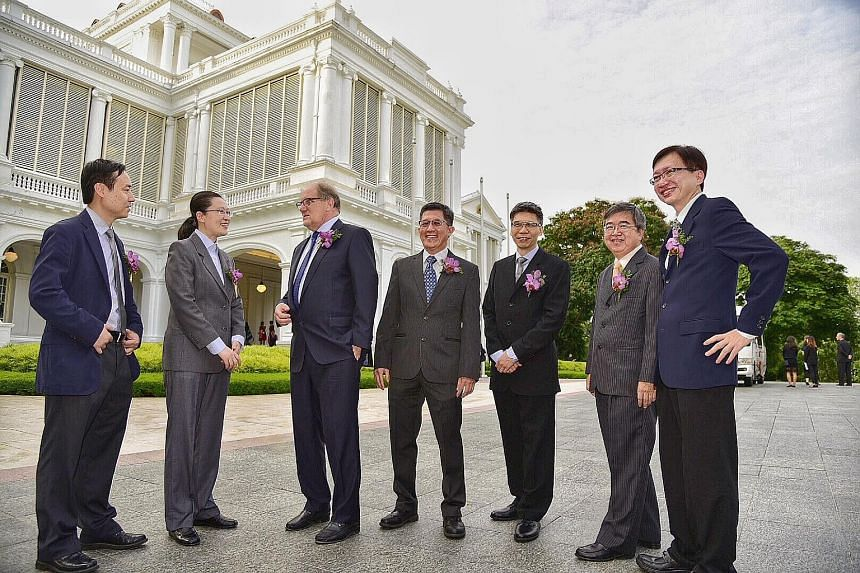 President's science and technology awards recipients (from left) Liu Xiaogang, Liu Bin, Bertil Andersson, Ong Kien Soo, Desmond Lim, Kwoh Leong Keong and Lim Wee Seng at the Istana yesterday.