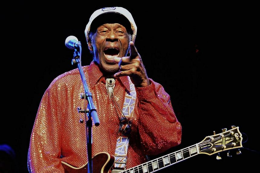 US singer and composer Chuck Berry performing at a concert in Montevideo on April 15, 2013.