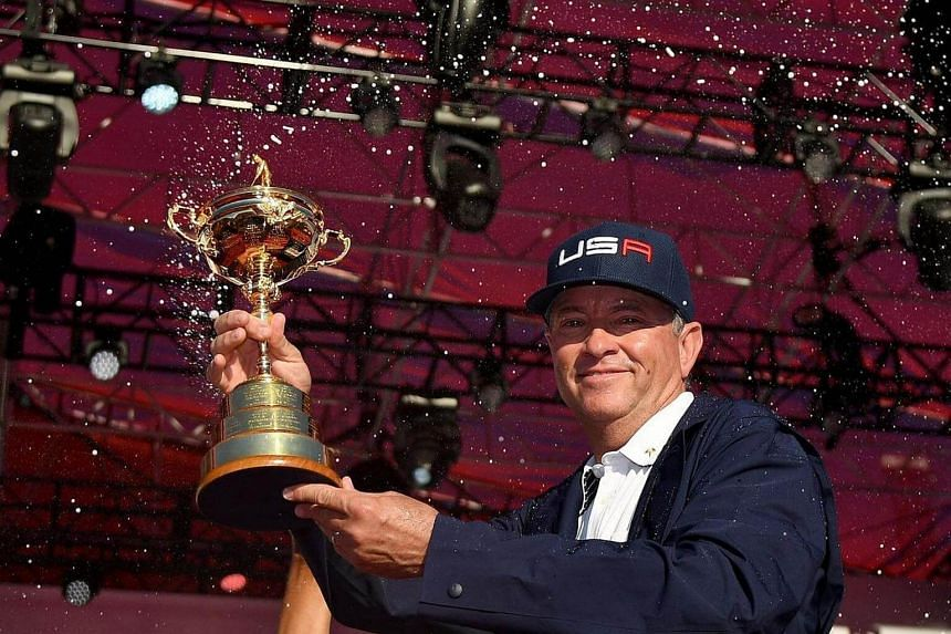 Team captain Davis Love III of the United States celebrates during the closing ceremony of the 2016 Ryder Cup at Hazeltine National Golf Club on Oct 2, 2016, in Chaska, Minnesota.