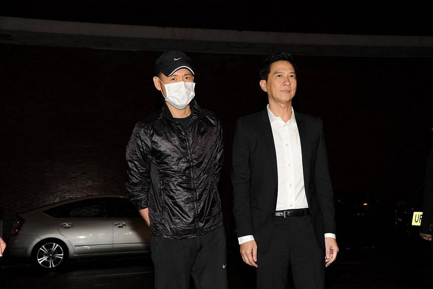 Jacky Cheung (left) and Nick Cheung were among the stars attending the wake
