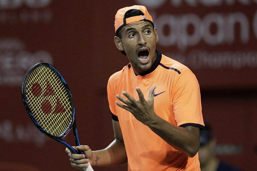 Nick Kyrgios of Australia reacts as he plays against David Goffin of Belgium during the men's singles final match at the Japan Open Tennis Championships in Tokyo.