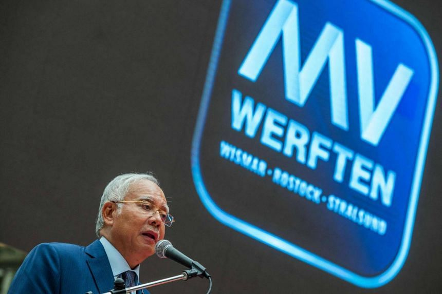 Prime Minister of Malaysia Najib Razak speaks during a visit to the MV Werften shipywards in Wismar, Germany on Sept 28, 2016.