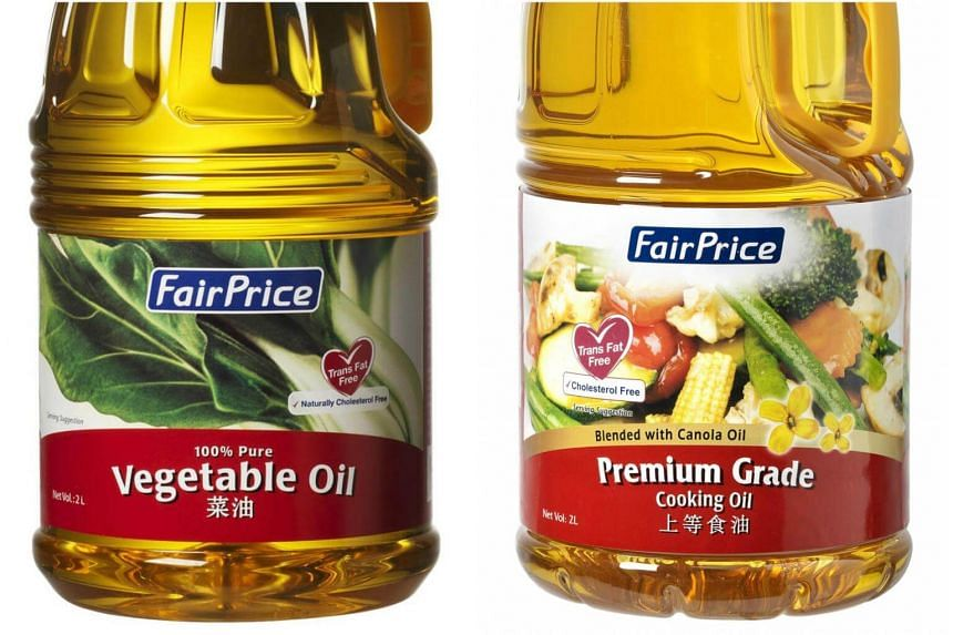 FairPrice Premium Cooking Oil (right) and FairPrice Vegetable Oil sold at NTUC have been certified by the supplier to be from certified sources under the Roundtable on Sustainable Palm Oil (RSPO).