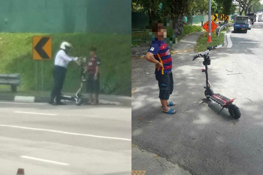 Land Transport Authority officers stopped two riders who were riding recklessly on Tuesday (Oct 18), amid recent complaints of errant e-scooter owners.