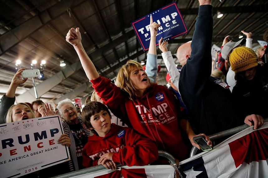 Supporters gather at a rally of Republican presidential nominee Donald Trump in Colorado Springs.