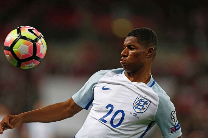 Rashford controls the ball during the World Cup 2018 football qualifier between England and Malta on Oct 8, 2016.