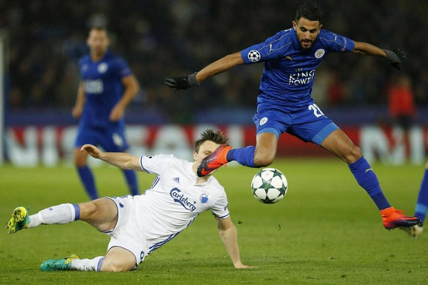 Leicester City's Riyad Mahrez (right) in action with FC Copenhagen's William Kvist.