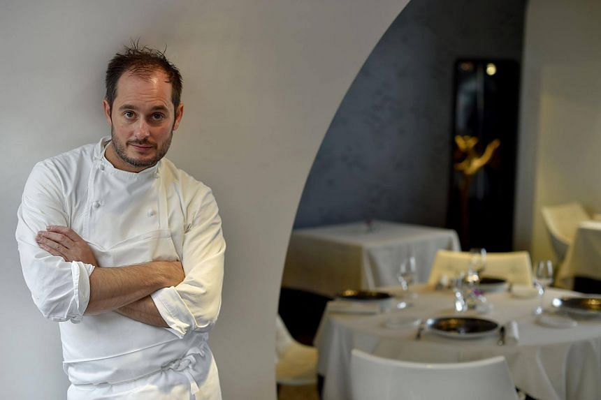 French chef Alexandre Couillon poses in his restaurant La Marine in Noirmoutier-en-l'Ile, western France on Oct 13, 2016.