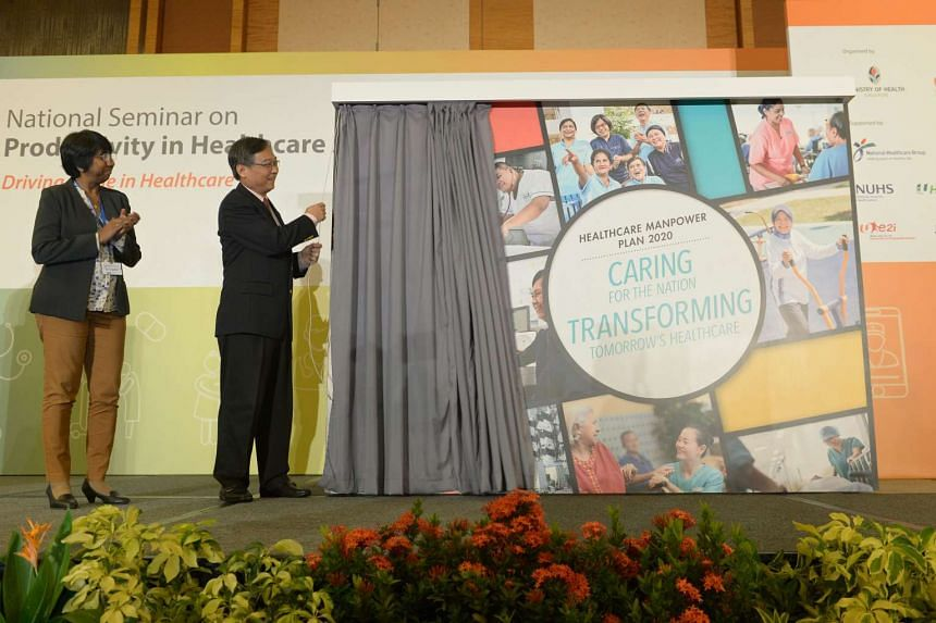 Minister for Health Gan Kim Yong unveils the new healthcare manpower plan at the National Seminar on Productivity in Healthcare (NSPH) on Oct 20, 2016.