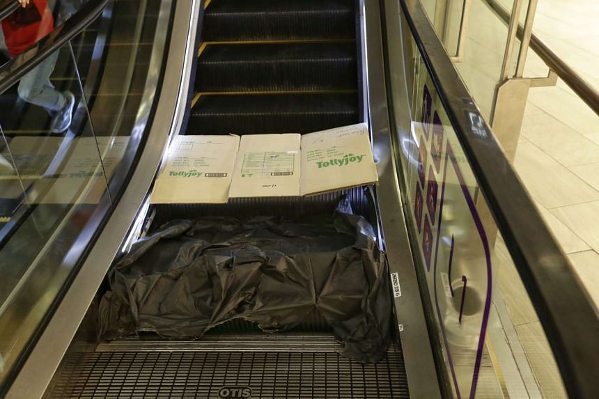 A small section of steps were damaged at the base of an escalator situated between Starbucks and UNIQLO at Waterway Point on Oct 19, 2016.