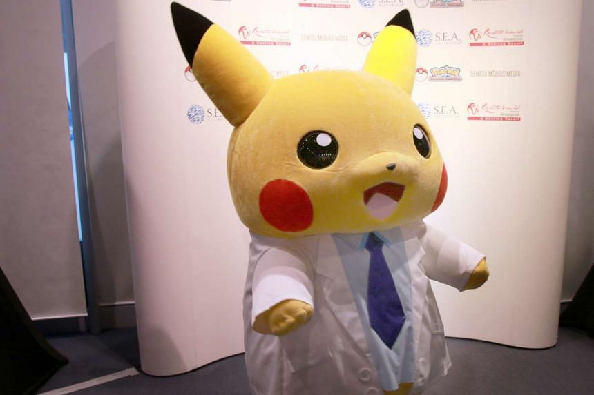 A Pikachu mascot at the opening of the Pokemon Research Exhibition at S.E.A Aquarium in Resorts World Sentosa on Oct 20, 2016.
