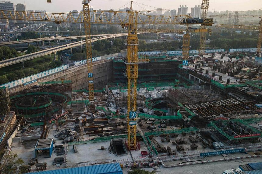 A general view shows a construction site owned by State Grid Corporation of China -- an electricity company that is the country's largest state-owned enterprise in Beijing.