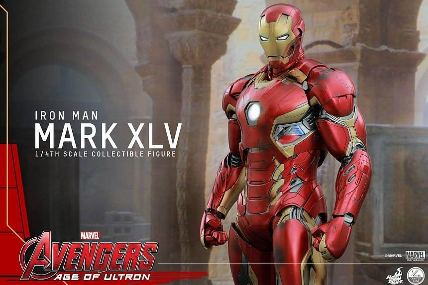 The Iron Man figurines sold by Hot Toys. Each Iron Man collectible figurine is priced at about $450.