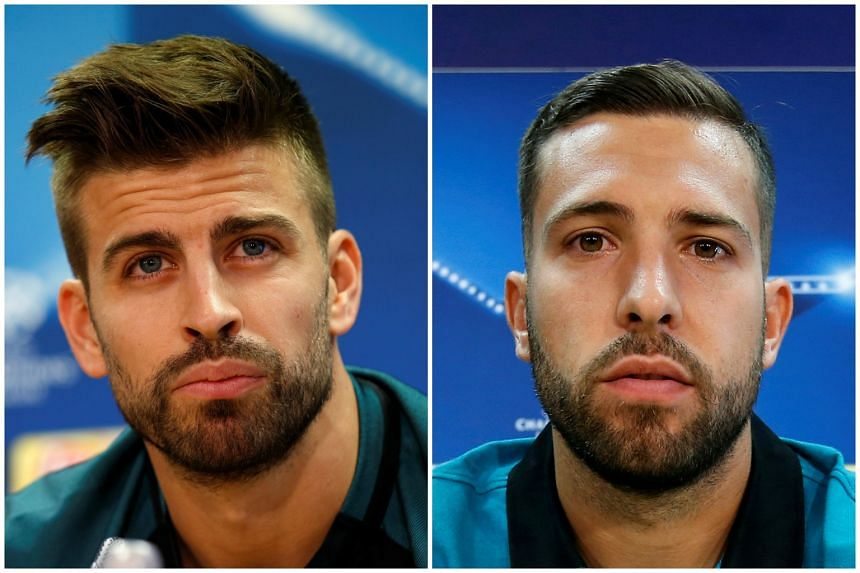 Barcelona has confirmed that defenders Gerard Pique (left) and Jordi Alba will be sidelined for at least a fortnight, after they sustained injuries in their match against Manchester City.