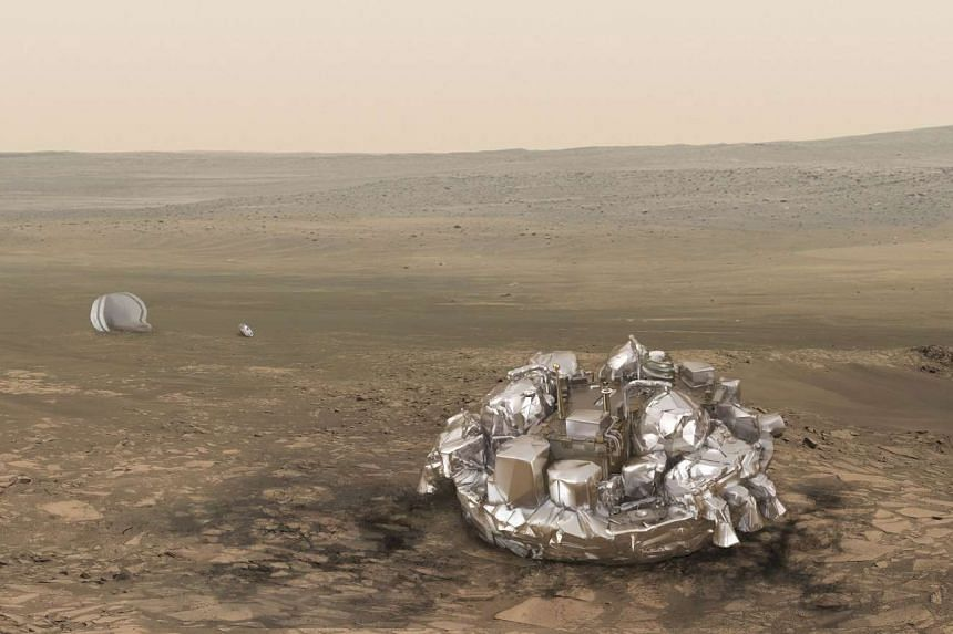 An illustration released by the European Space Agency (ESA) shows the Schiaparelli EDM lander.
