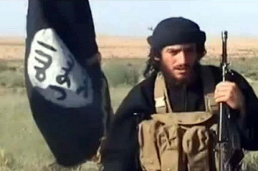 The spokesman for the Islamic State of Iraq and Syria, Abu Mohammad al-Adnani al-Shami, speaking next to an Islamist flag in a video uploaded on YouTube.