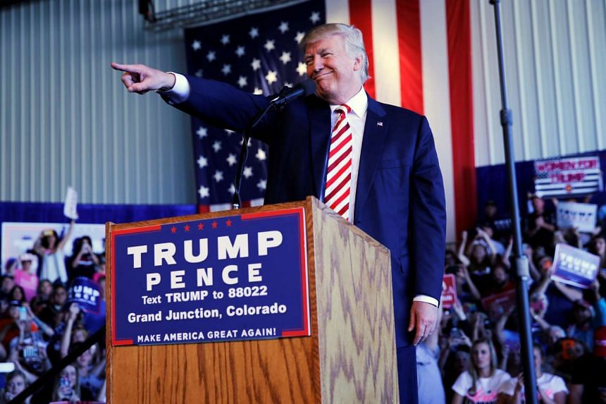 Republican presidential nominee Donald Trump holds a campaign rally in Grand Junction, Colorado.