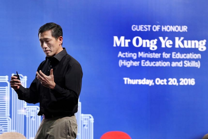 Acting Minister for Education (Higher Education and Skills) Ong Ye Kung speaks at The Straits Times Future Economy Forum on Thursday (Oct 20).