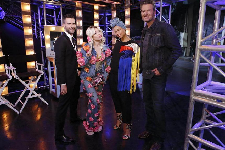 (From left) Adam Levine, Miley Cyrus, Alicia Keys and Blake Shelton, judges on The Voice 11, the 11th season of the American edition of The Voice.