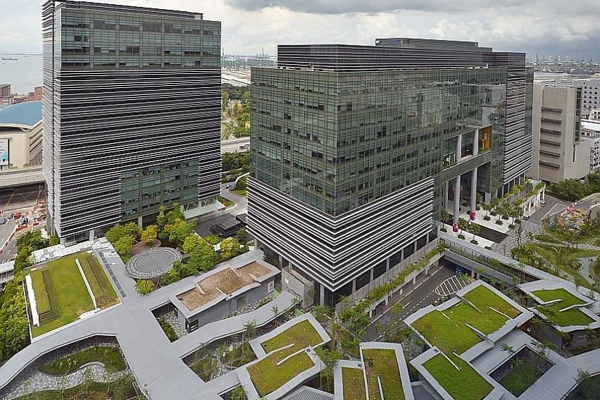 Mapletree Business City on the west coast of Singapore. Owners of industrial buildings and business parks are benefiting from demand for office space from bio-medical and social media companies, said Samsung Asset's fund manager Alan Richardson.