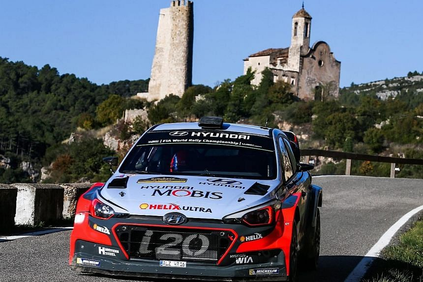 Hyundai driver Thierry Neuville racing at the RallyRACC Catalunya. The Belgian (above) finished third.