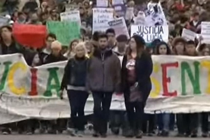 Protesters (above) marching against the murder of 16-year-old Lucia Perez (right), who prosecutors said was drugged, raped and impaled before her death.