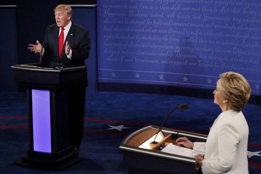 Donald Trump and Hillary Clinton during their third and final 2016 presidential campaign debate.