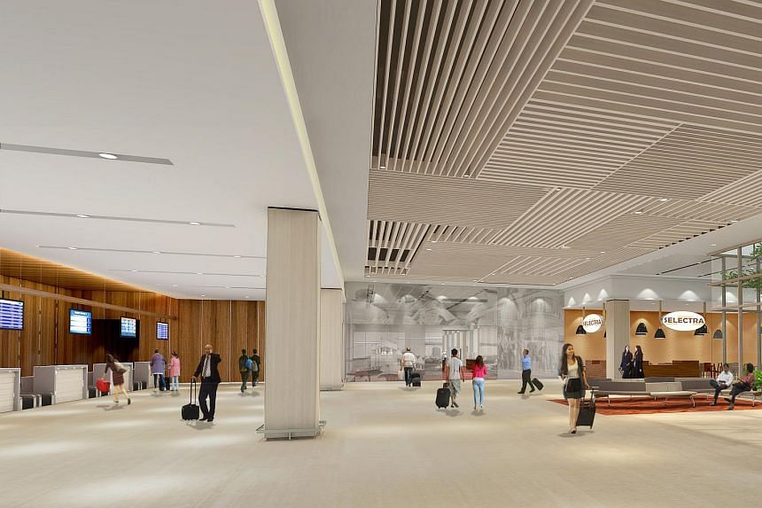 An artist's impression of the departure hall at the new Seletar Airport.