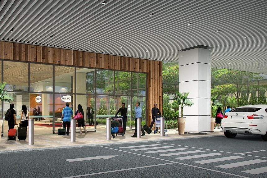 An artist's impression of the entrance to the new Seletar Airport.