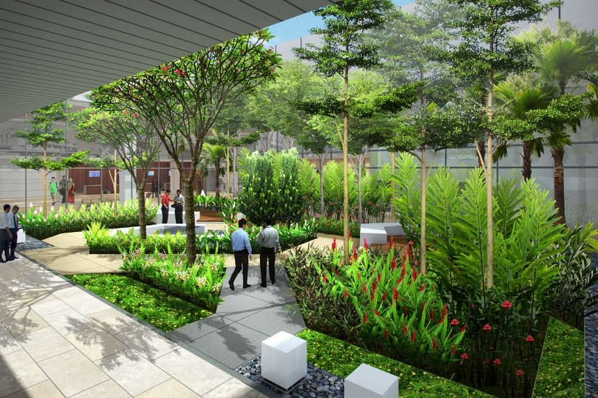 An artist's impression of the landscape garden at the new Seletar Airport.