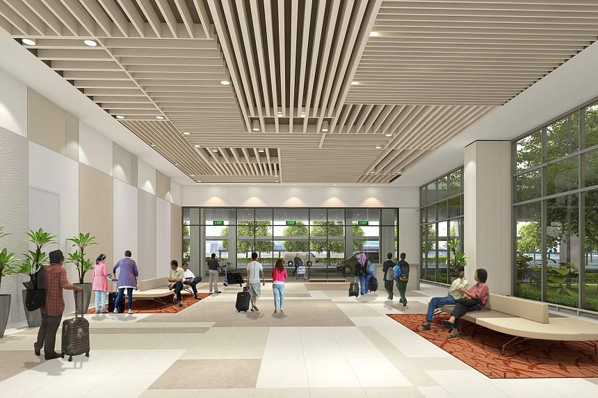 An artist's impression of the meeting hall at the new Seletar Airport.
