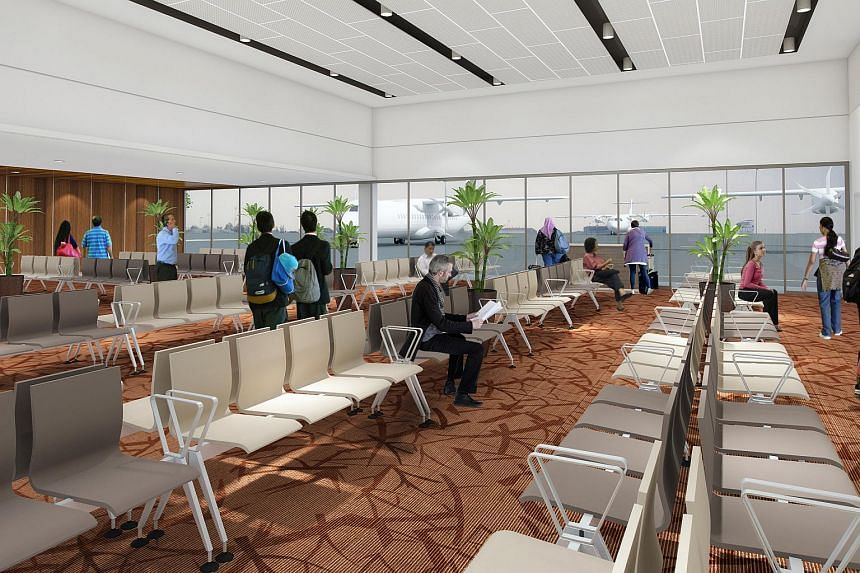 An artist's impression of the holding room for passengers leaving Singapore, at the new Seletar Airport.