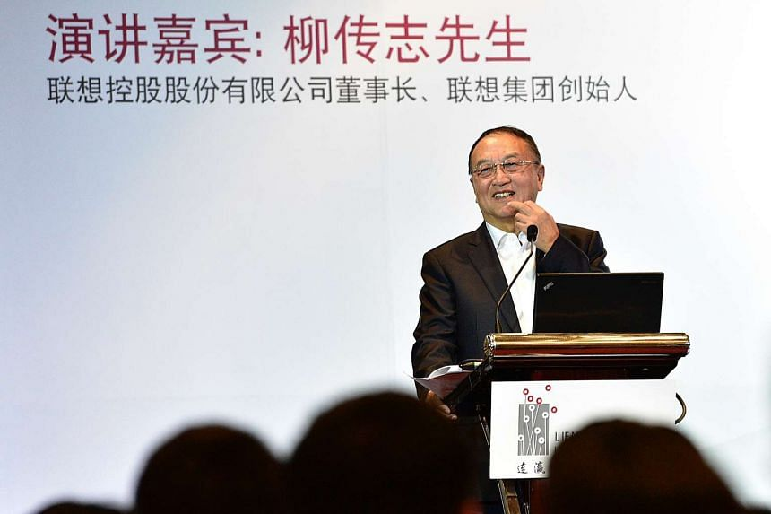 Mr Liu Chuanzhi, founder of Lenovo Group, speaks at an event organised by Lien Ying Chow Legacy Fellowship and Business China at the Mandarin Orchard Hotel on Thursday. SPH PHOTO: DESMOND WEE