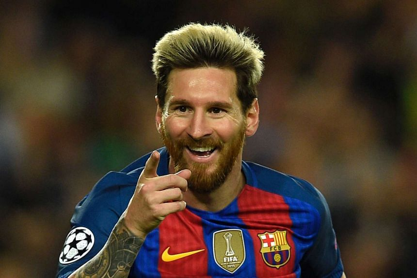 Barcelona's Argentinian forward Lionel Messi celebrates a goal against Manchester City.