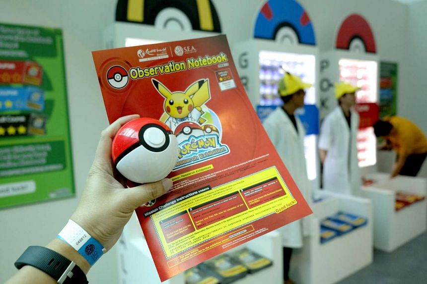 Make sure you get a pamphlet with the Pokemon before visiting the various stations in the Pokemon Research Exhibition at S.E.A Aquarium in Resorts World Sentosa.