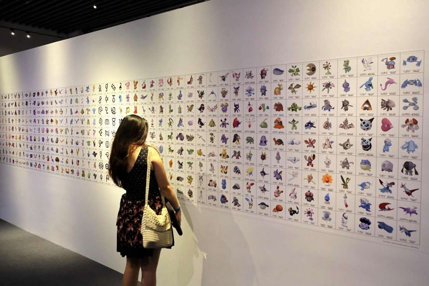 The Pokedex wall with more than 700 Pokemon in the Pokemon Research Exhibition at S.E.A Aquarium in Resorts World Sentosa.