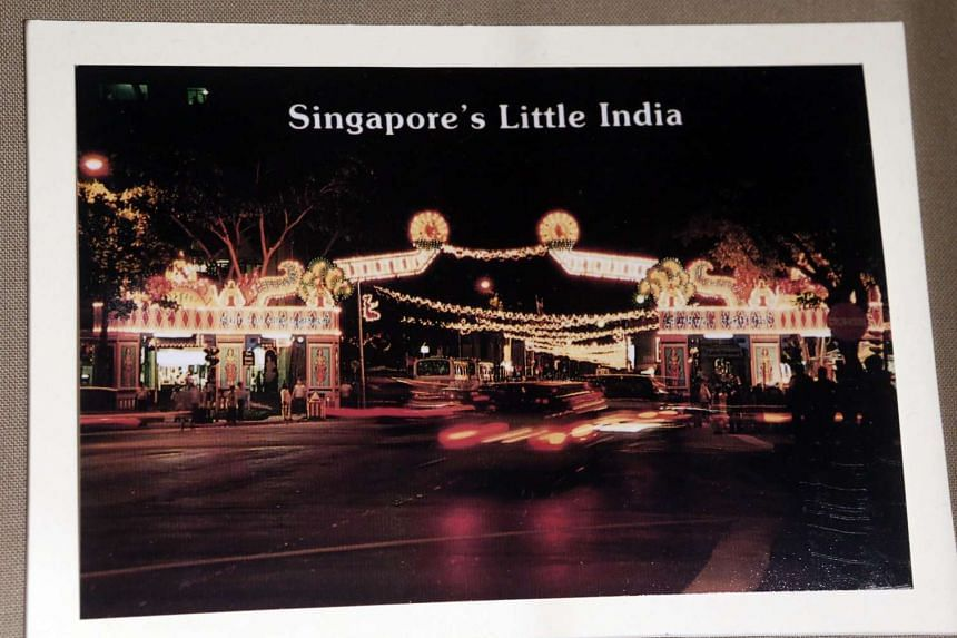 A postcard showing Deepavali light-up decorations at Little India.