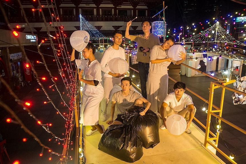 Performers of Sago Lane, part of the exhibition Pop-Up Noise: Soul Searching, at Kreta Ayer Square. The event runs until Oct 30.