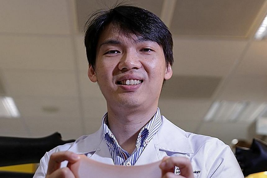 Dr Tee's research focus is on developing electronic skin to use in prosthetic limbs and other biomedical and robotic devices. He has already developed e-skin that is elastic, sensitive to pressure and can self-heal multiple times.