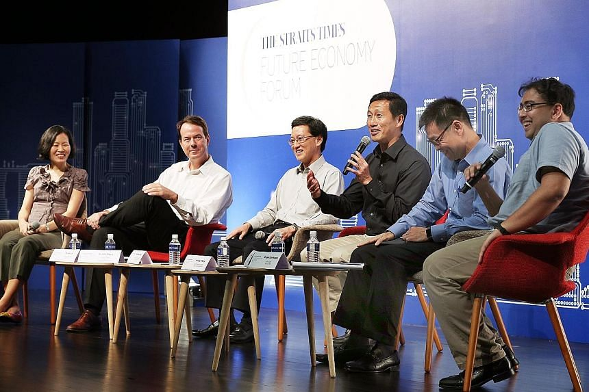 On yesterday's panel on jobs, skills and opportunities in Singapore's future were (from left) ST associate opinion editor Lydia Lim, Lee Kuan Yew Centre for Innovative Cities research fellow John Powers, Infineon technologies Asia Pacific managing di