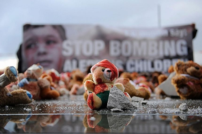 Teddy bears placed in Berlin by global civic group Avaaz in protest against Aleppo's bombing.