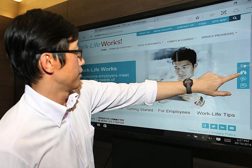 Minister of State for Manpower Teo Ser Luck at the launch of WorkLifeWorks.sg yesterday, Singapore's first integrated work-life resource portal.